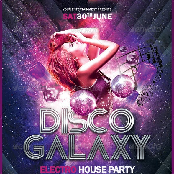 Disco Galaxy Electro Party Flayer