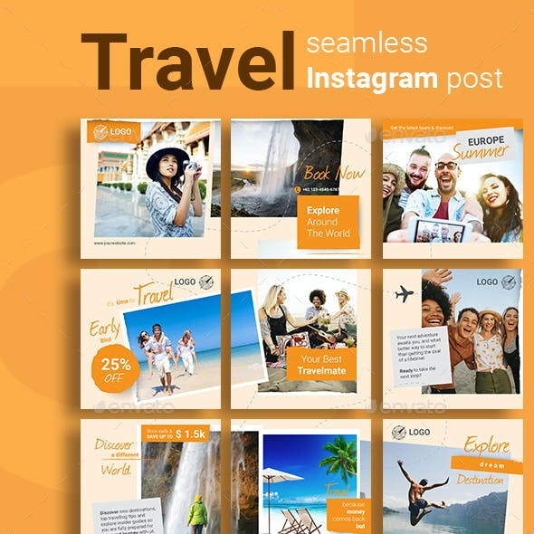Travel Social Media Post Template with Orange Color Theme