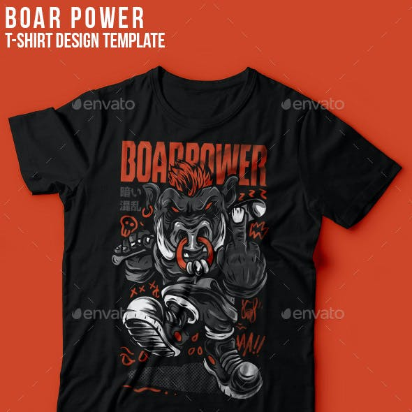 Boar Power T-Shirt Design