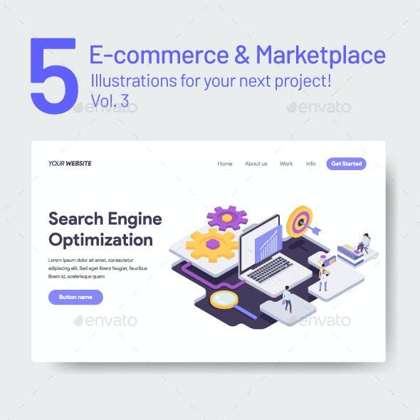 5 E-Commerce & Marketplace Illustration Vol 3