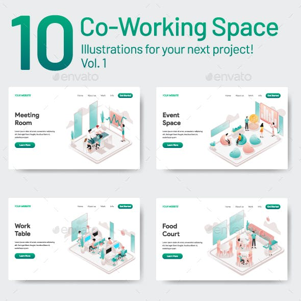 10 Co-Working Space Illustrations Vol 1