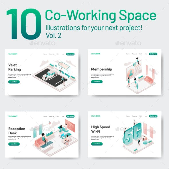 10 Co-Working Space Illustration Vol 2