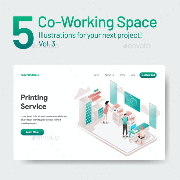 10 Co-Working Space Illustration Vol 3