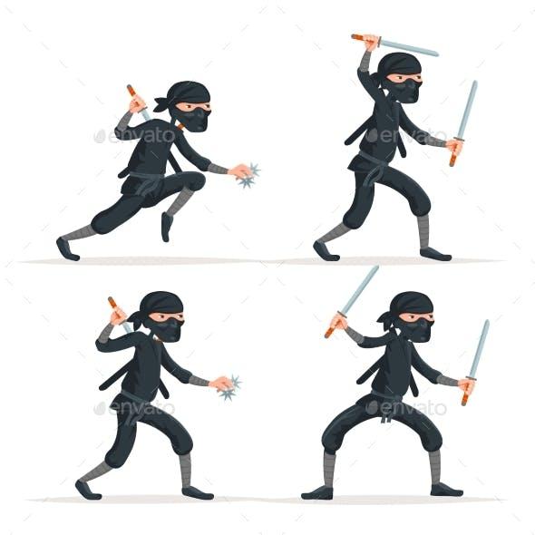 Ninja Japanese Secret Assassin Sword Character Set