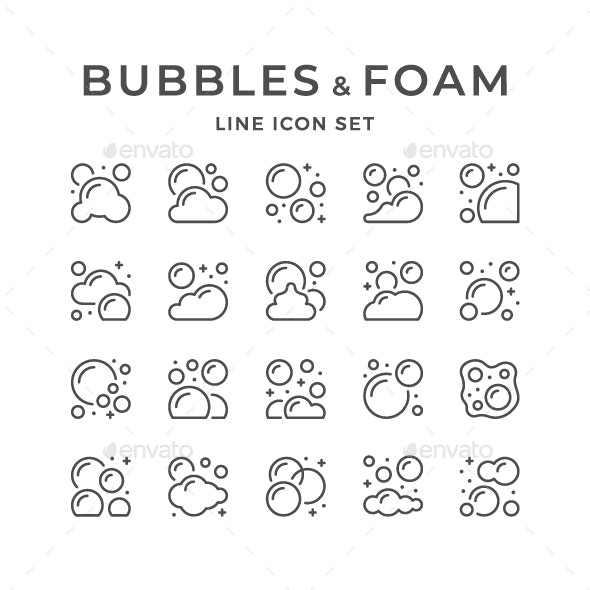 Set Line Icons of Bubbles and Foam - Man-made objects Objects
