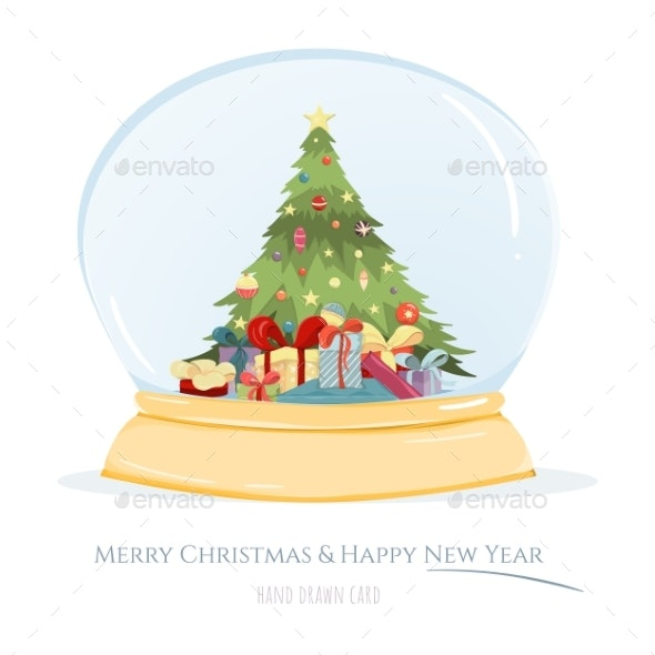 Merry Christmas and Happy New Year Hand Drawn Card - Seasons/Holidays Conceptual