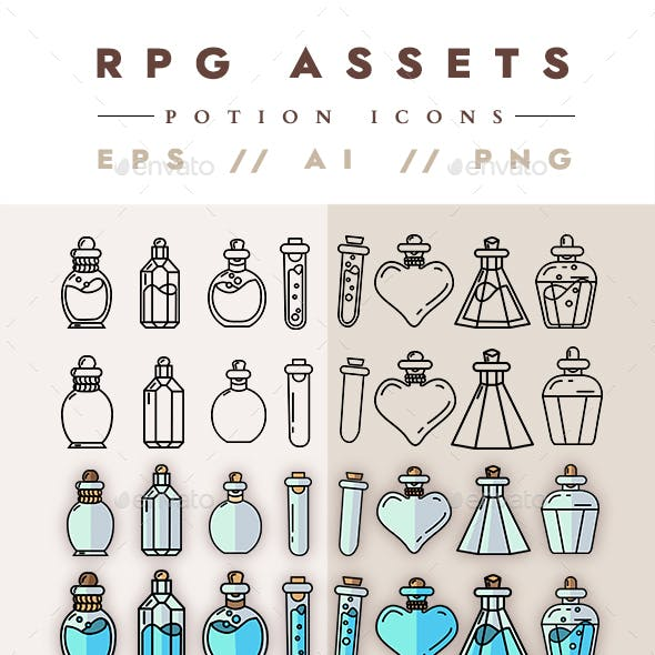 63 Potion Icons RPG Assets
