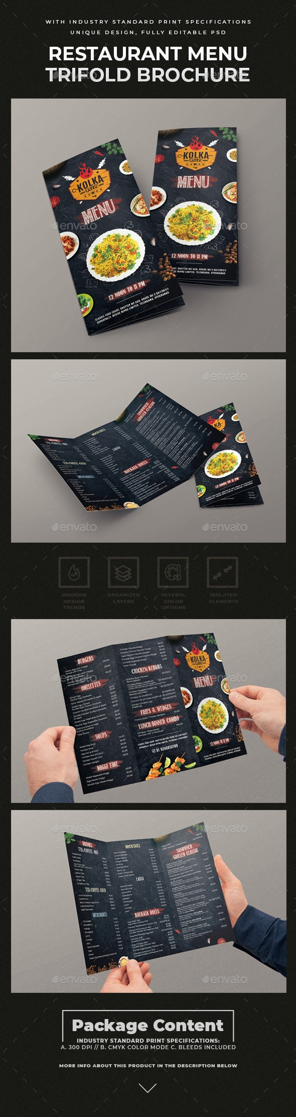 Trifold Restaurant Menu Template - Restaurant Flyers