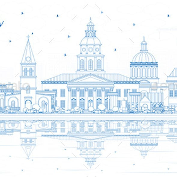 Outline Annapolis Maryland City Skyline with Blue Buildings