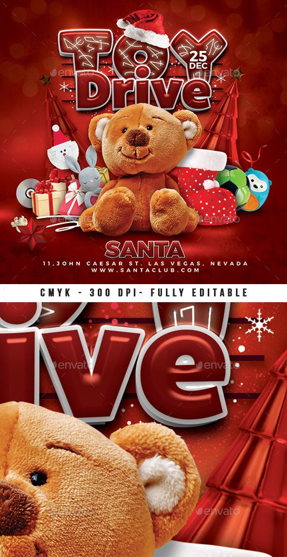 Christmas Toy Drive Flyer - Events Flyers