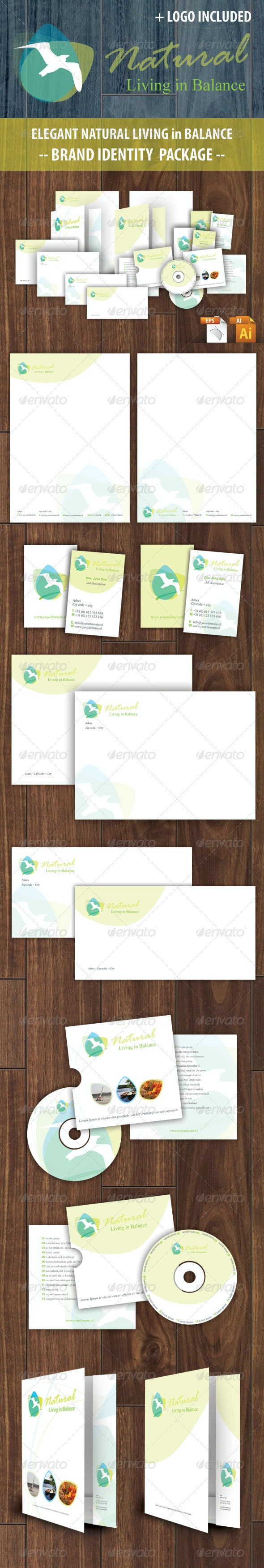 Natural Living Identity package - Stationery Print Templates