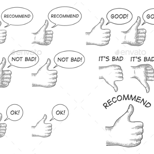 Thumb Up and Down Hand Gesture Set Sketch Vector