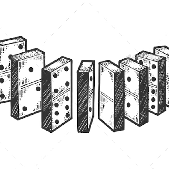 Domino Bones Line Chain Sketch Engraving Vector