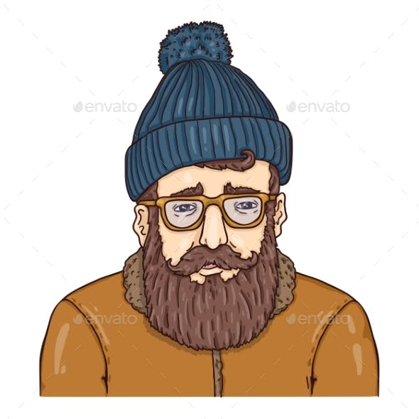 Hipster Character in Woolen Hat