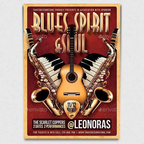 Blues and Soul Live Flyer Template