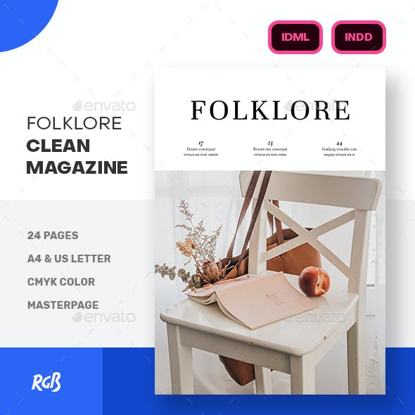 Folklore Clean Minimalist Magazine Template
