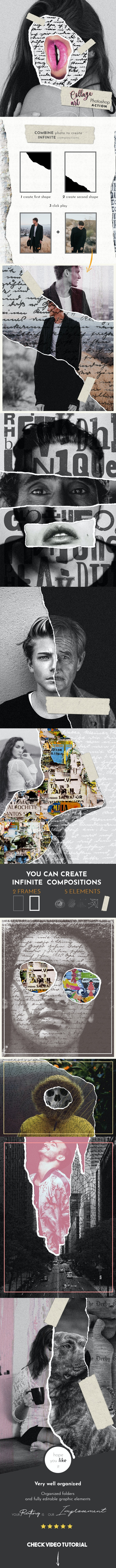 Collage Art Photoshop Action - Photo Effects Actions