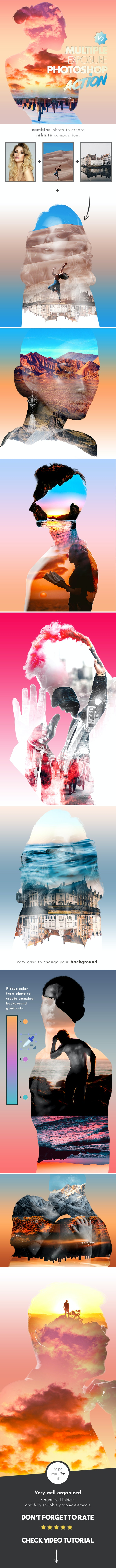 Multiple Exposure V2 Photoshop Action - Photo Effects Actions