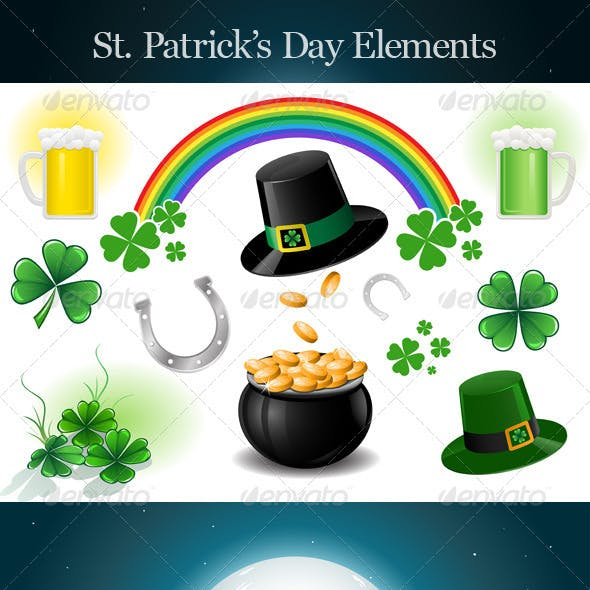 St. Patrick's Day Design Elements.