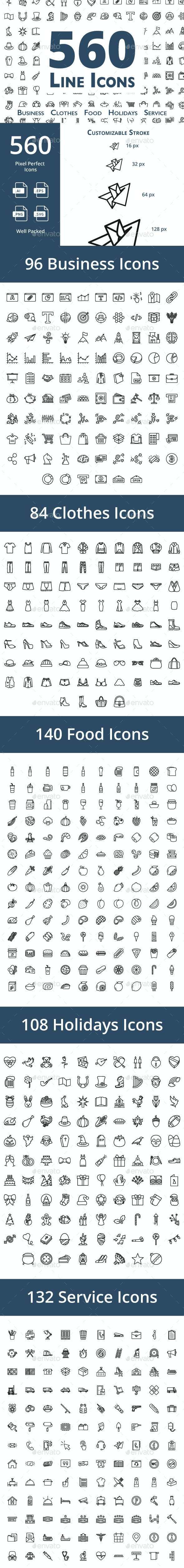 560 Line Icons - Icons