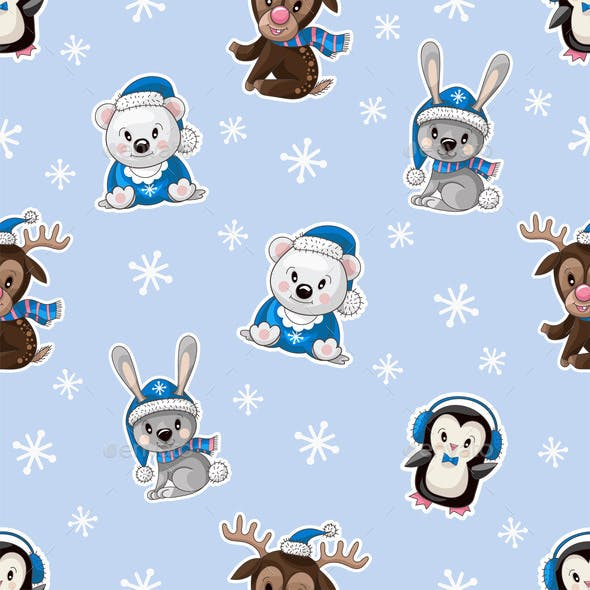 Seamless Pattern with Baby Animals
