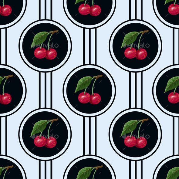 Seamless Pattern with Cherries in the Circles