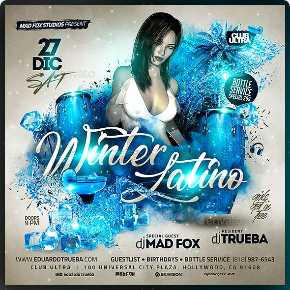 Winter Latino Party Flyer