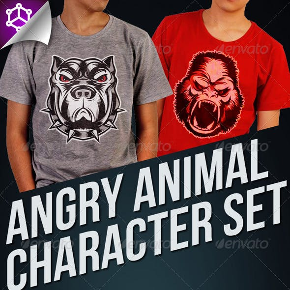 5 Angry Animal Character Set