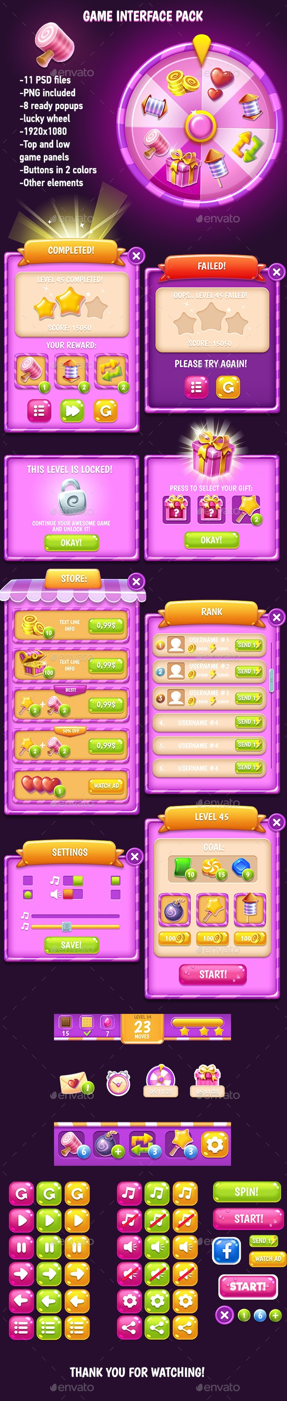 Pink Glossy Game Interface Pack