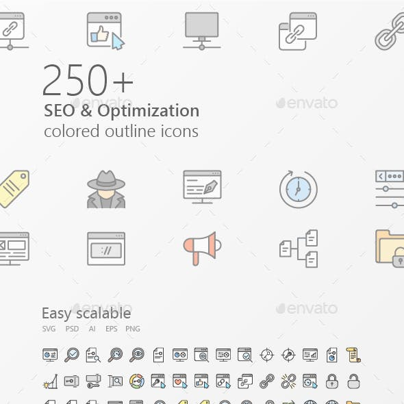 SEO Outline Coloured Iconset