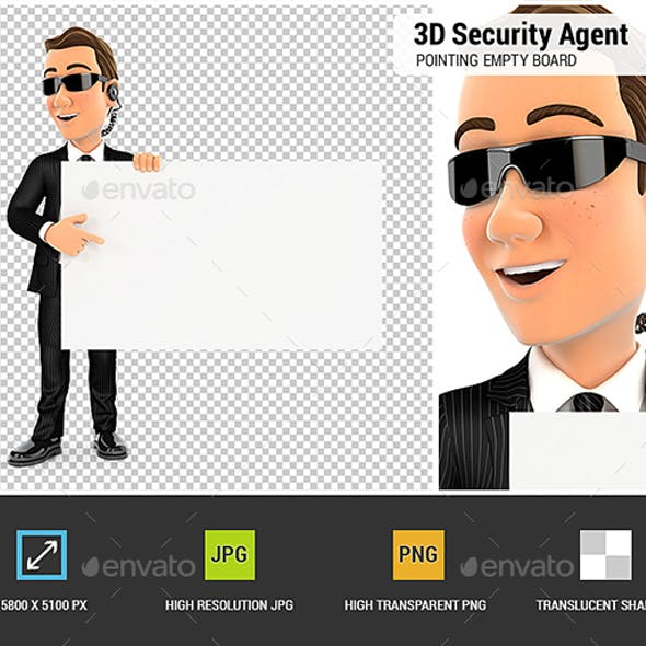 3D Security Agent Pointing Empty Board