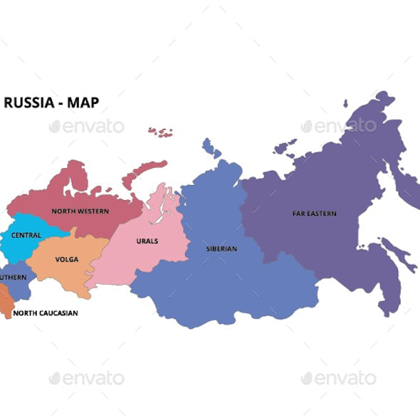 Russia Map - States and Outline