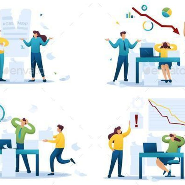 Set Flat 2D Concepts of Stressful Situations