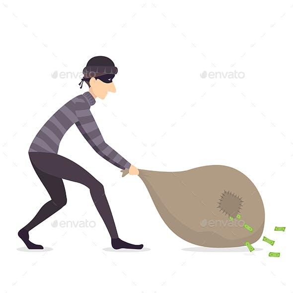 Thief Drags a Bag of Money