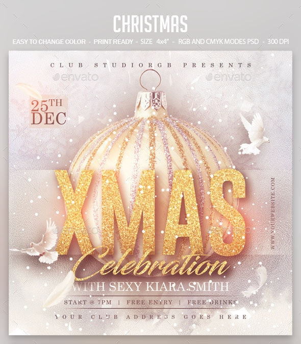 Christmas Celebration - Clubs & Parties Events Flyer Template