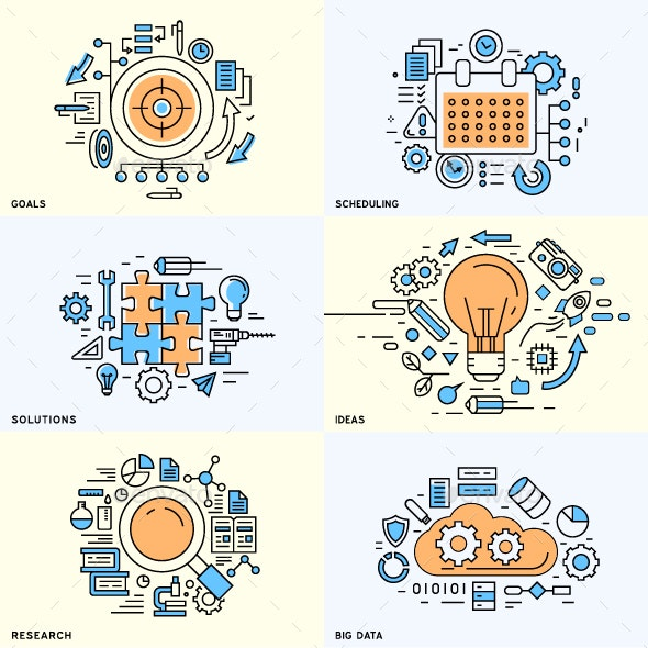 Set of Flat Line Designed Concepts - Concepts Business