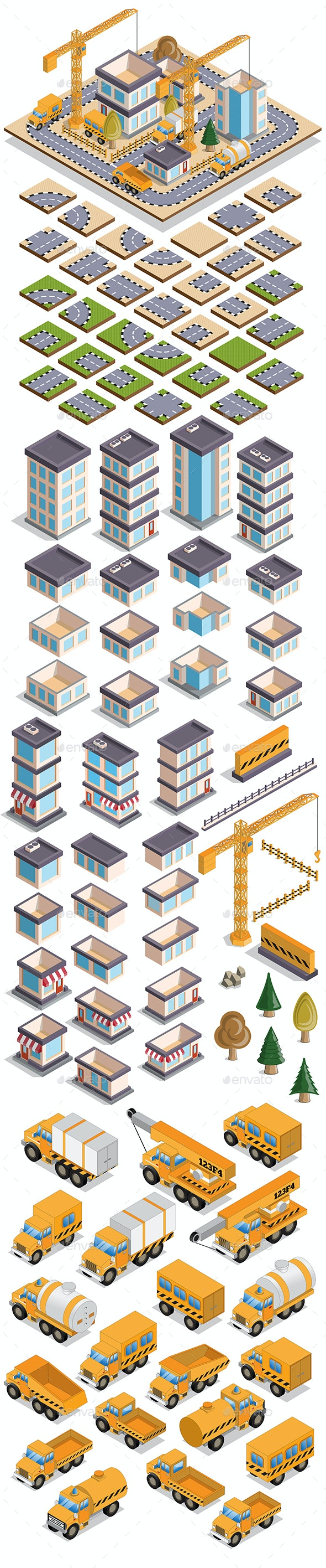 Set of Elements for Building Houses - Tilesets Game Assets