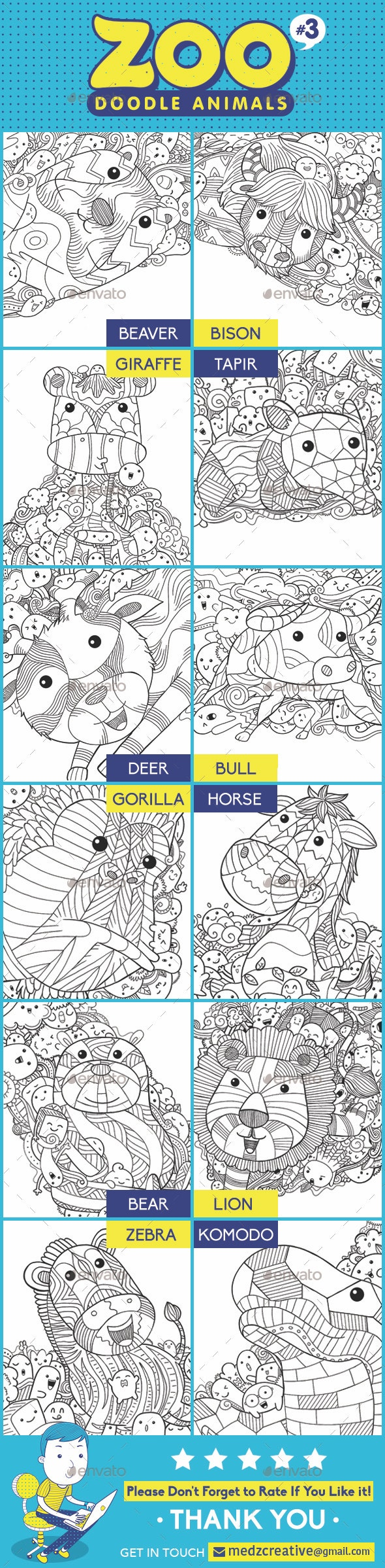 Zoo Doodle Animals #3 - Illustrations Graphics