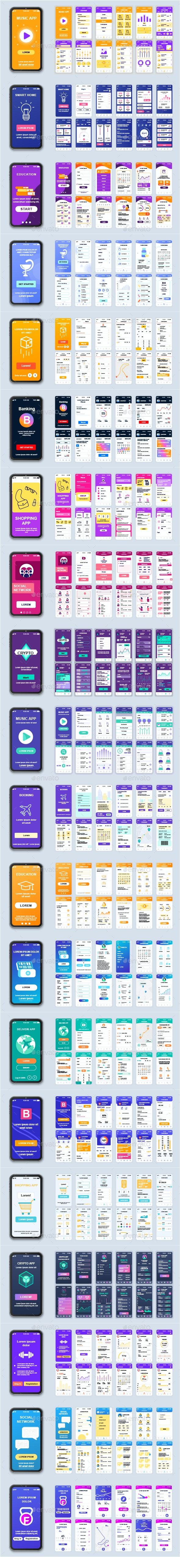 Mobile App UI Kit - Web Elements Vectors
