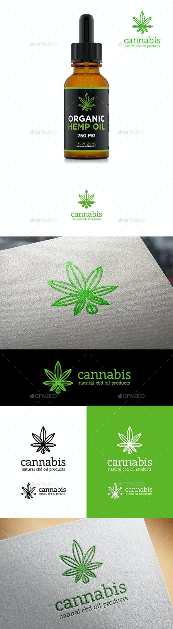 Cannabis Leaf Natural CBD Oil Logo for Marijuana Products - Nature Logo Templates