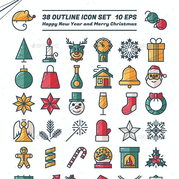 New Year Christmas Icons