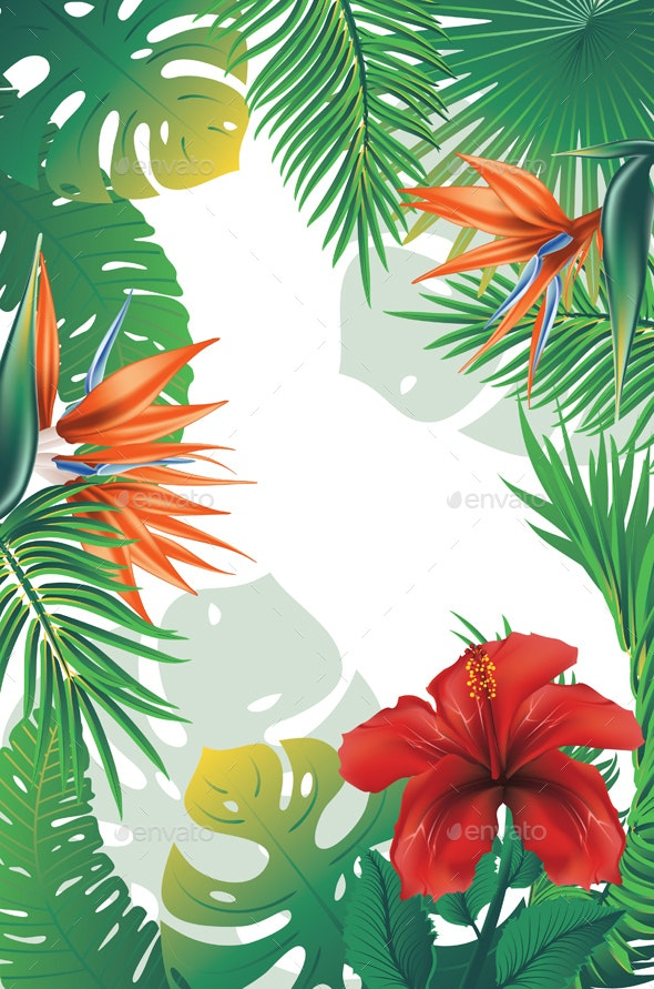Tropical Leaves And Flowers Banner By Annartshock Graphicriver Find the perfect tropical leaves stock photos and editorial news pictures from getty images. https graphicriver net item tropical leaves and flowers banner 24985975
