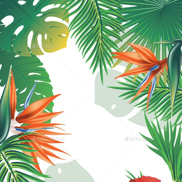 Tropical Leaves and Flowers Banner