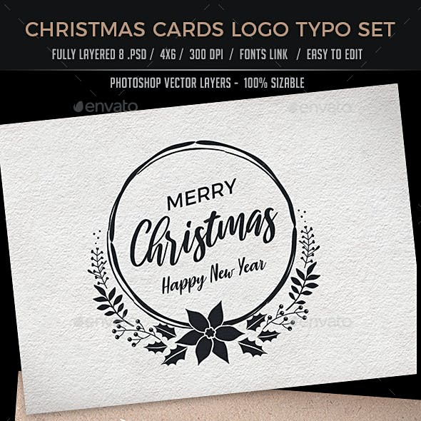 Christmas Cards Logo Typo Set