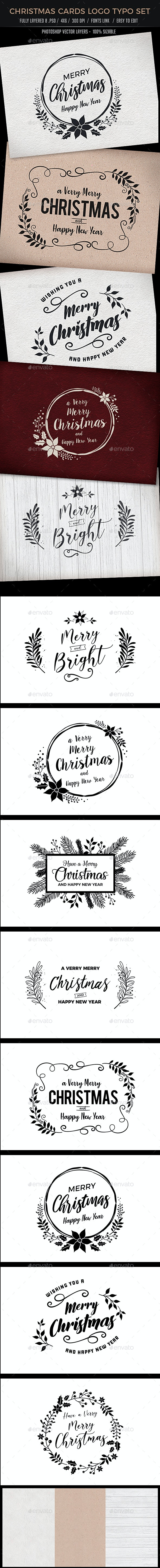 Christmas Cards Logo Typo Set - Backgrounds Graphics