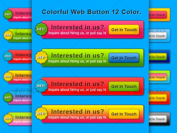Web contact button collection 12 color - Buttons Web Elements