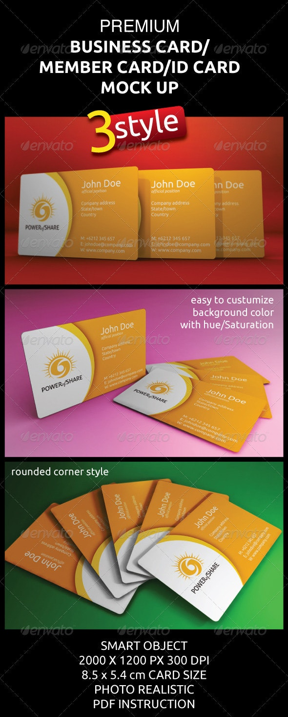Photorealistic Business/Member/ID Card Mock-Ups - Business Cards Print