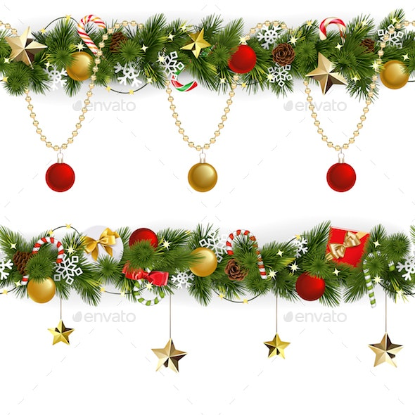 Vector Pine Christmas Border with
