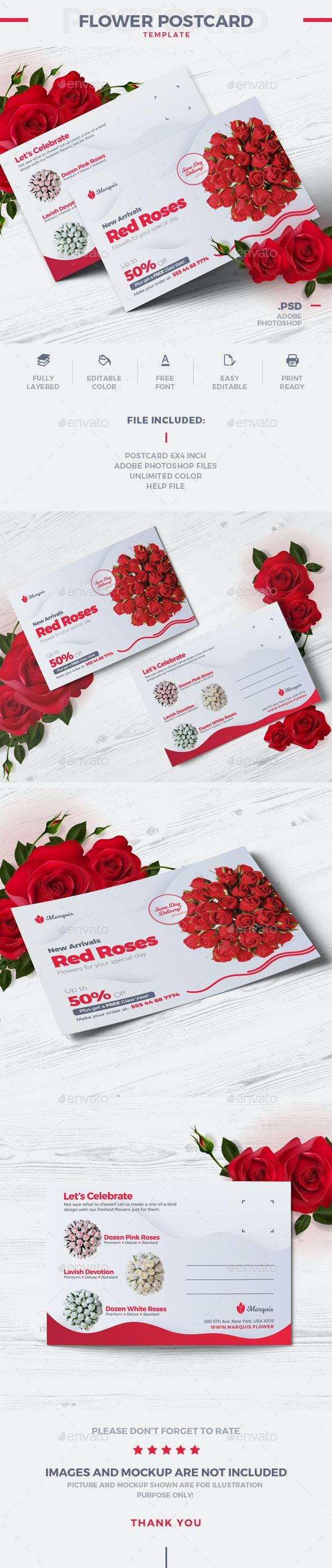 Flower Postcard - Cards & Invites Print Templates