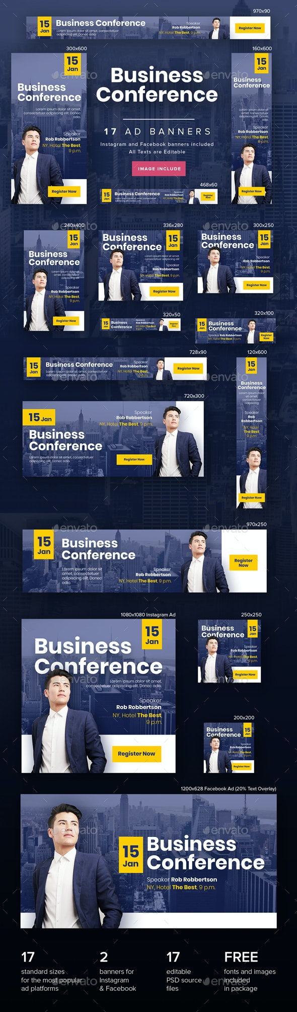 Business Conference Ad Banners - Banners & Ads Web Elements